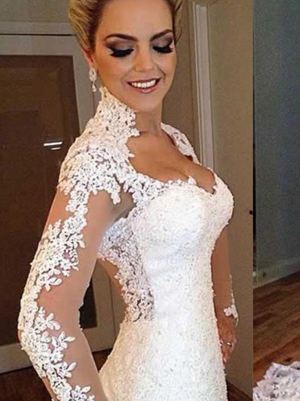 Trumpet/Mermaid Long Sleeves V-neck Applique Lace Wedding Dress