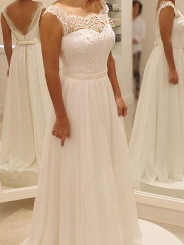 A-Line/Princess Chiffon Bowknot Lace Sleeveless Scoop Sweep/Brush Train Wedding Dress