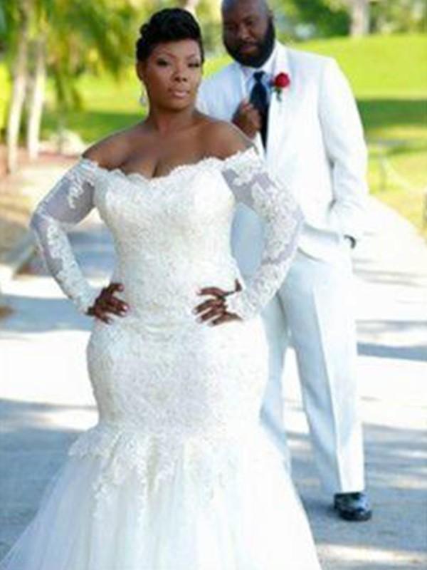Trumpet/Mermaid Tulle Long Sleeves Sweep/Brush Train Wedding Dress