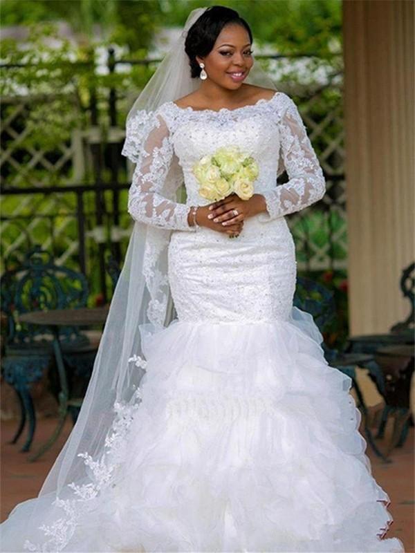 Trumpet/Mermaid Square Organza Long Sleeves Chapel Train Wedding Dress