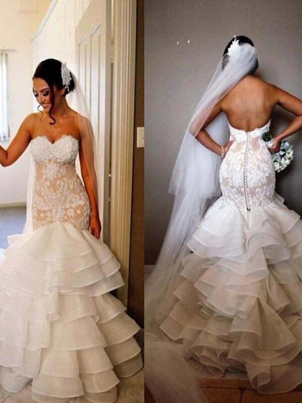Trumpet/Mermaid Tulle Sleeveless Sweetheart Sweep/Brush Train Wedding Dress