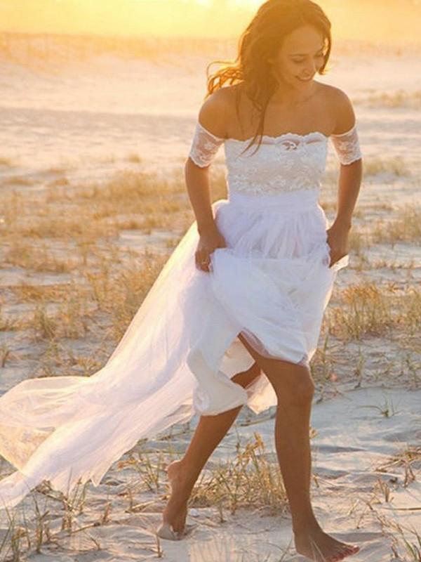 A-Line/Princess Chiffon Sleeveless Lace Floor-Length Wedding Dress