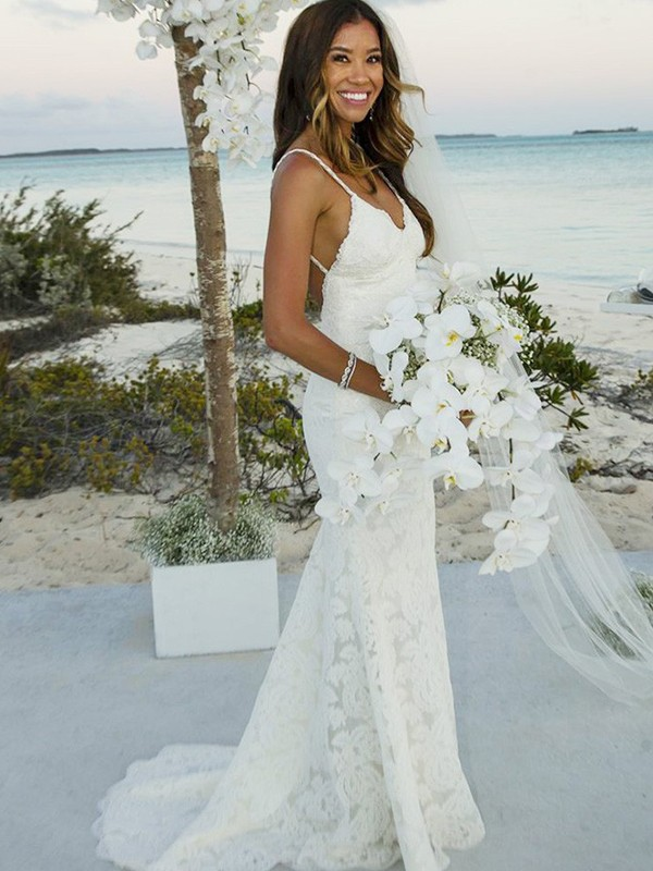 Trumpet/Mermaid Sleeveless Lace Spaghetti Straps Sweep/Brush Train Wedding Dress