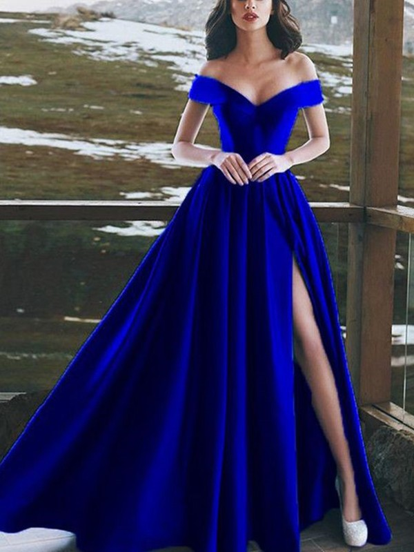 A-Line/Princess Sleeveless Floor-Length Off-the-Shoulder Satin Dresses