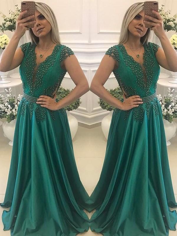 A-Line/Princess Short Sleeves V-neck Floor-Length Beading Satin Dresses