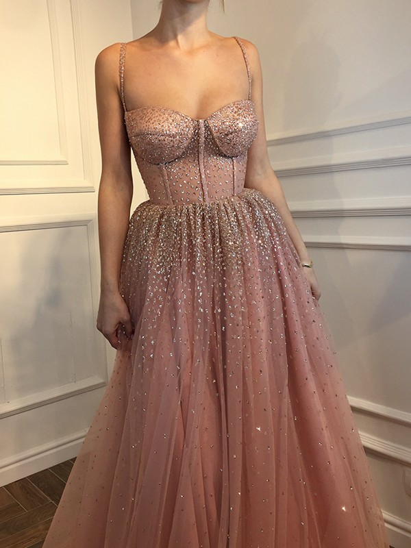 A-Line/Princess Sleeveless Floor-Length Spaghetti Straps Tulle Dresses