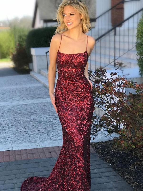 Trumpet/Mermaid Sleeveless Sweep/Brush Train Spaghetti Straps Sequins Dresses