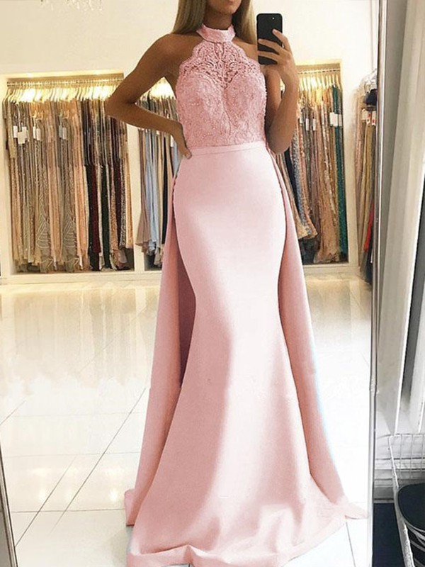 Trumpet/Mermaid Sleeveless Sweep/Brush Train Lace Satin Dresses
