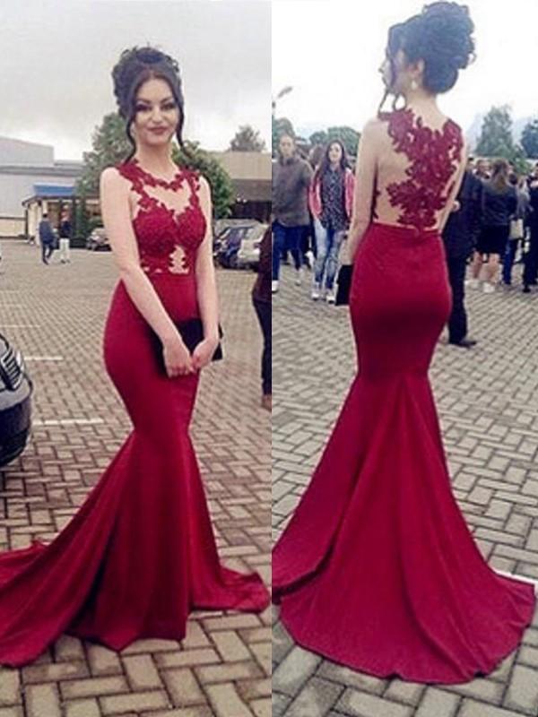 Trumpet/Mermaid Sleeveless Sweep/Brush Train Scoop Applique Satin Dresses
