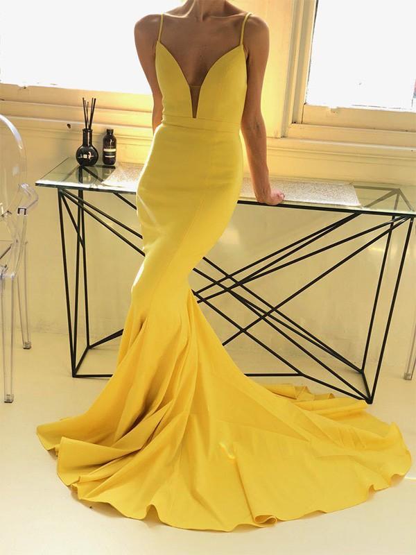 Trumpet/Mermaid Sleeveless Spaghetti Straps Ruffles Sweep/Brush Train Satin Dresses