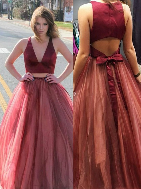A-Line/Princess Sleeveless V-neck Sweep/Brush Train Ruffles Tulle Two piece Dresses