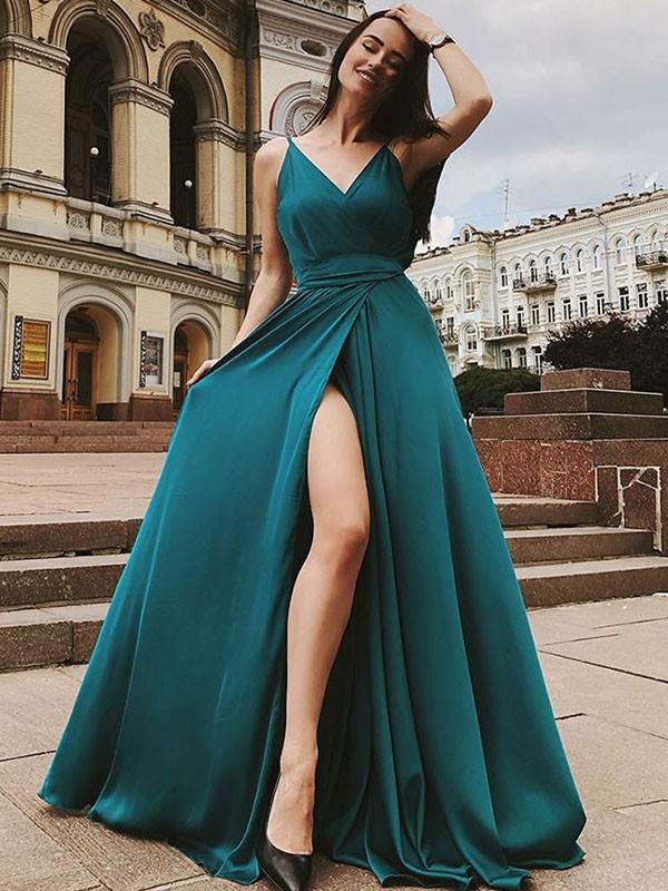 A-Line/Princess Sleeveless Straps Sweep/Brush Train Ruffles Chiffon Satin Dresses