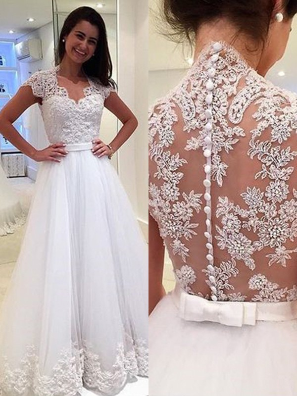 A-Line/Princess Sleeveless Floor-Length V-neck Applique Wedding Dresses with Tulle