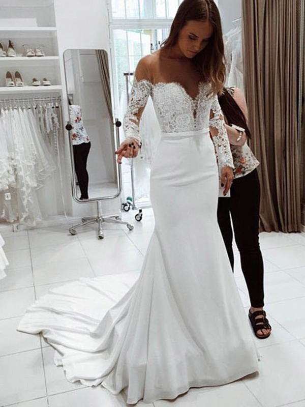 Trumpet/Mermaid Off-the-Shoulder Long Sleeves Court Train Lace Wedding Dresses with Chiffon