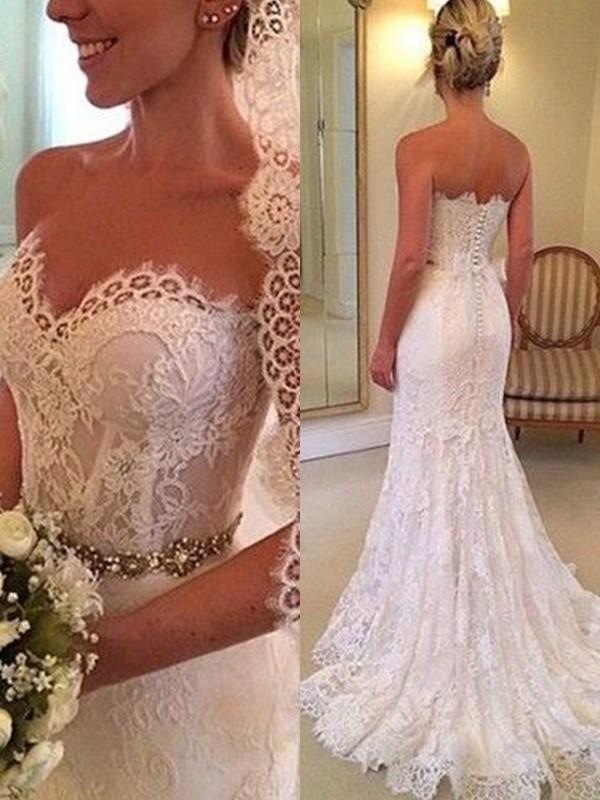 Sheath/Column Sweetheart Sweep/Brush Train Sleeveless Beading Wedding Dresses with Lace