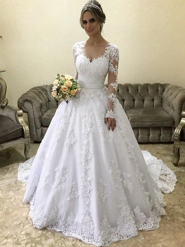 Ball Gown V-neck Long Sleeves Court Train Applique Wedding Dresses with Satin