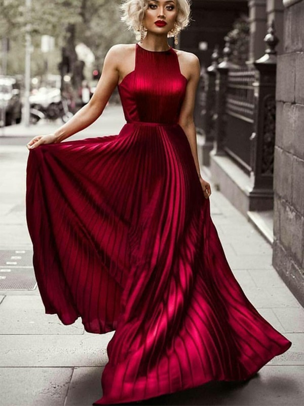 A-Line/Princess Halter Sleeveless Floor-Length Ruched Dresses with Silk like Satin
