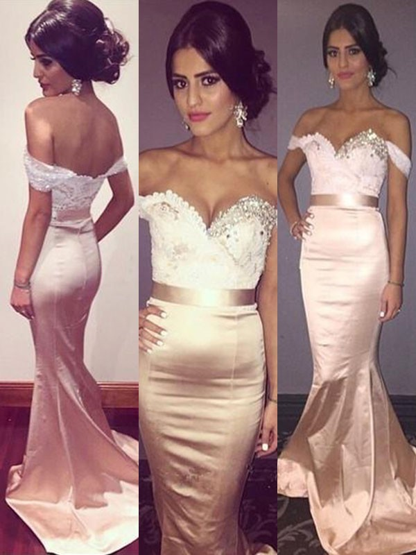 Trumpet/Mermaid Sleeveless Off-the-Shoulder Sweep/Brush Train Beading Dresses with Satin