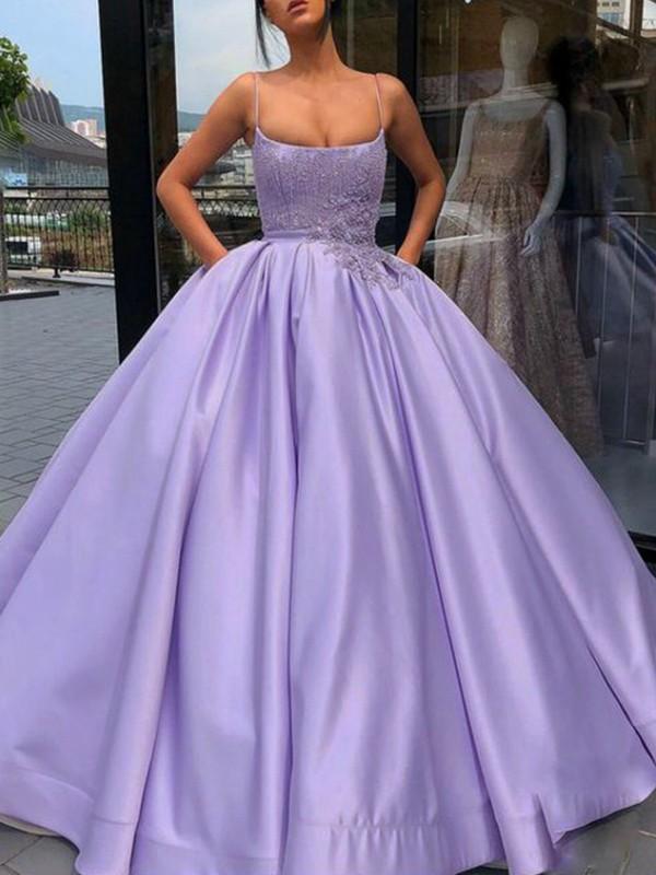 Ball Gown Satin Applique Spaghetti Straps Sleeveless Floor-Length Dresses