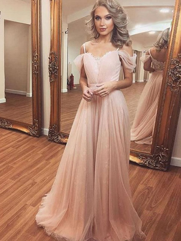 A-Line/Princess Ruched Off-the-Shoulder Sweep/Brush Train Sleeveless Dresses with Tulle