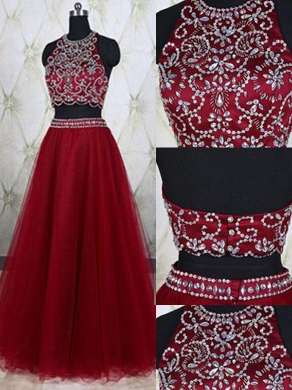A-Line/Princess Jewel Tulle Floor-Length Two Piece Dress