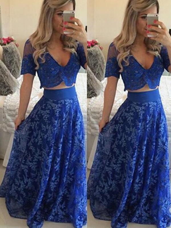 A-Line/Princess V-neck Floor-Length Lace Two Piece Dress