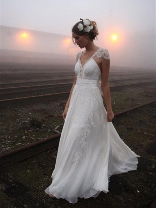 A-Line/Princess V-neck Floor-Length Lace Chiffon Wedding Dress