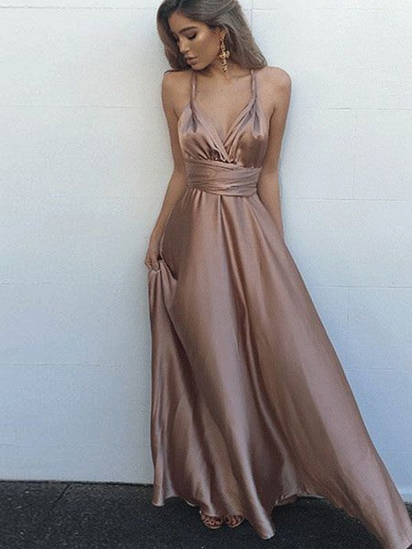 A-Line/Princess Sleeveless Spaghetti Straps Silk like Satin Floor-Length Dresses