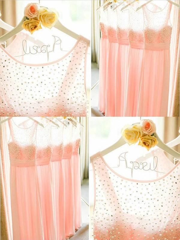 A-Line/Princess Scoop Floor-Length Chiffon Bridesmaid Dress