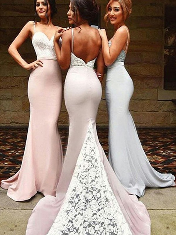 Trumpet/Mermaid Sweetheart Sweep/Brush Train Lace Spandex Bridesmaid Dress