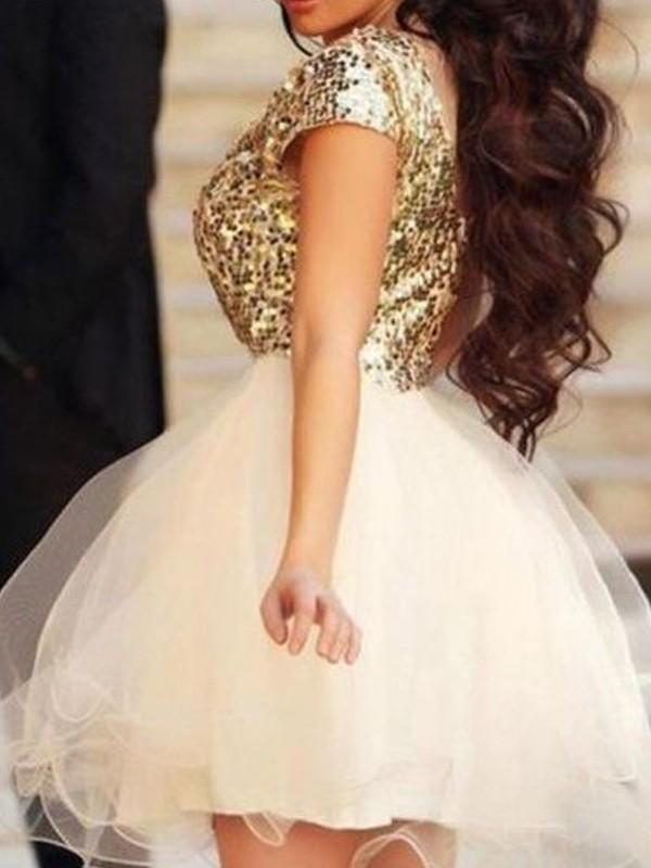A-Line/Princess Scoop Sequin Tulle Short/Mini Dress