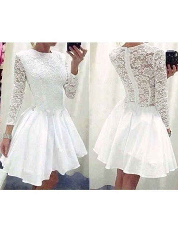 A-Line/Princess Long Sleeves Scoop Lace Chiffon Short/Mini Dress