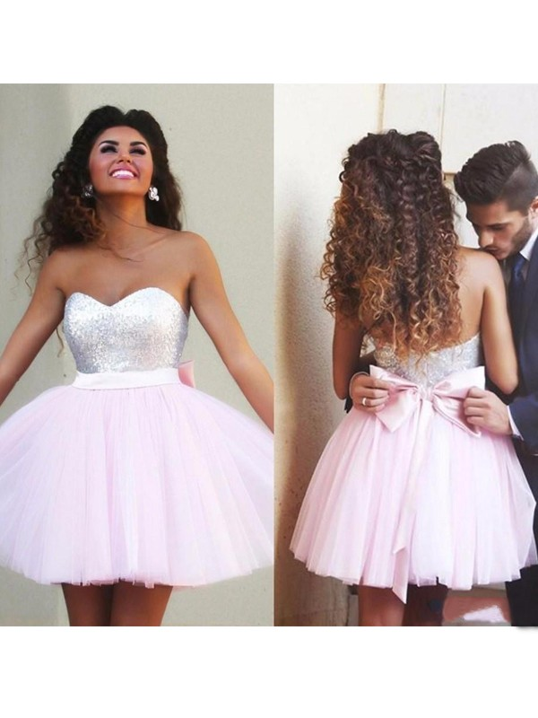 A-Line/Princess Sweetheart Tulle Short/Mini Dress
