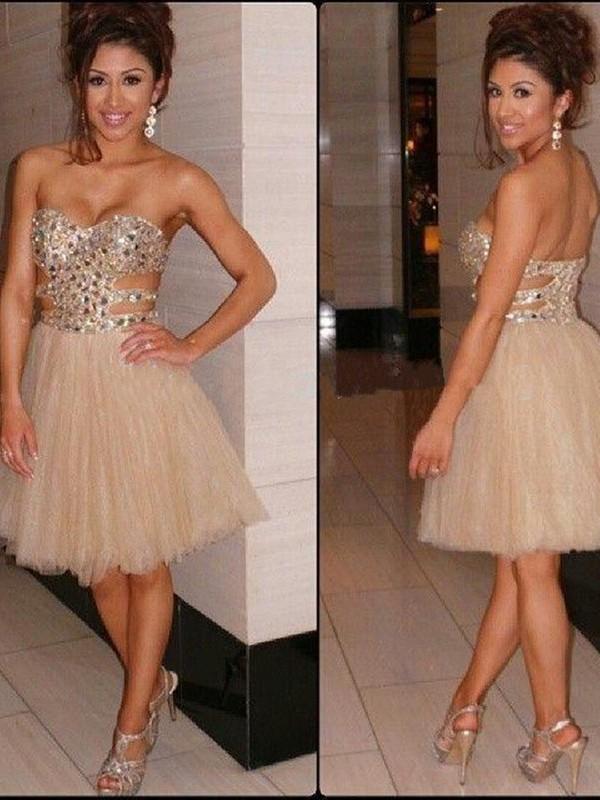 A-Line/Princess Sweetheart Sequin Tulle Short/Mini Dress