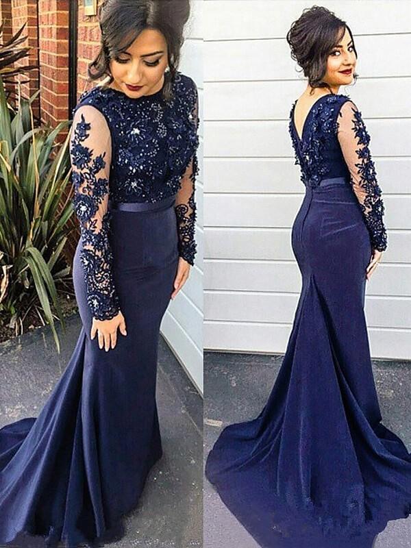 Trumpet/Mermaid Lace Silk like Satin Scoop Sweep/Brush Train Long Sleeves Plus Size Dress