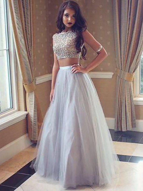 A-Line/Princess Bateau Tulle Floor-Length Beading Two Piece Dress