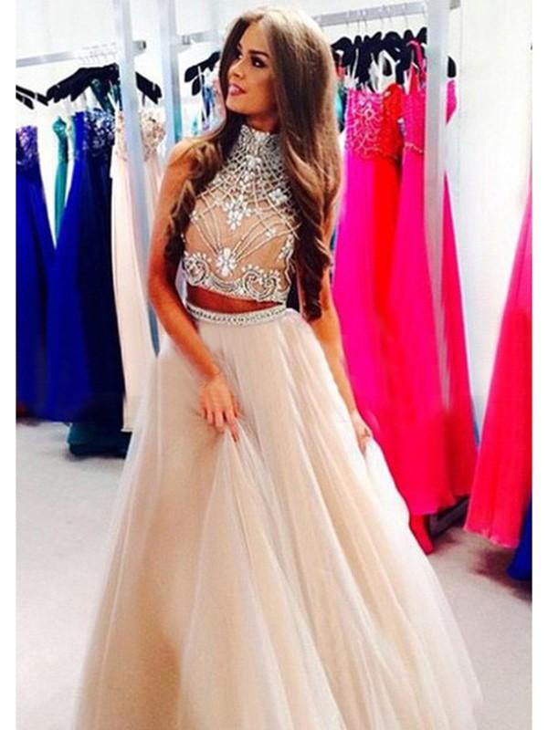 A-Line/Princess High Neck Tulle Floor-Length Dress