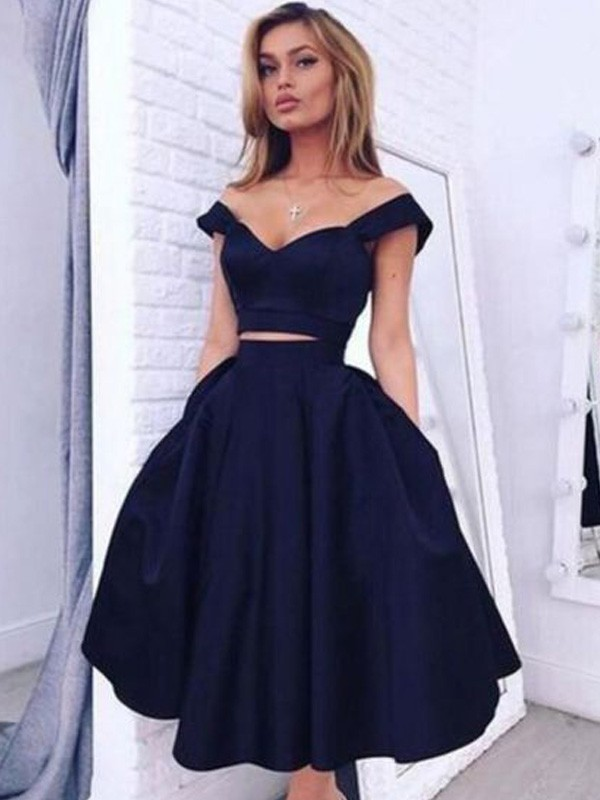 Fashion A-Line/Princess Knee-Length Off-the-Shoulder Satin Two Piece Dress