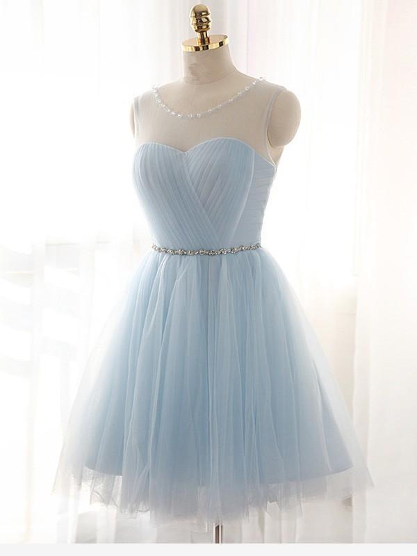 A-Line/Princess Scoop Short/Mini Tulle Dress