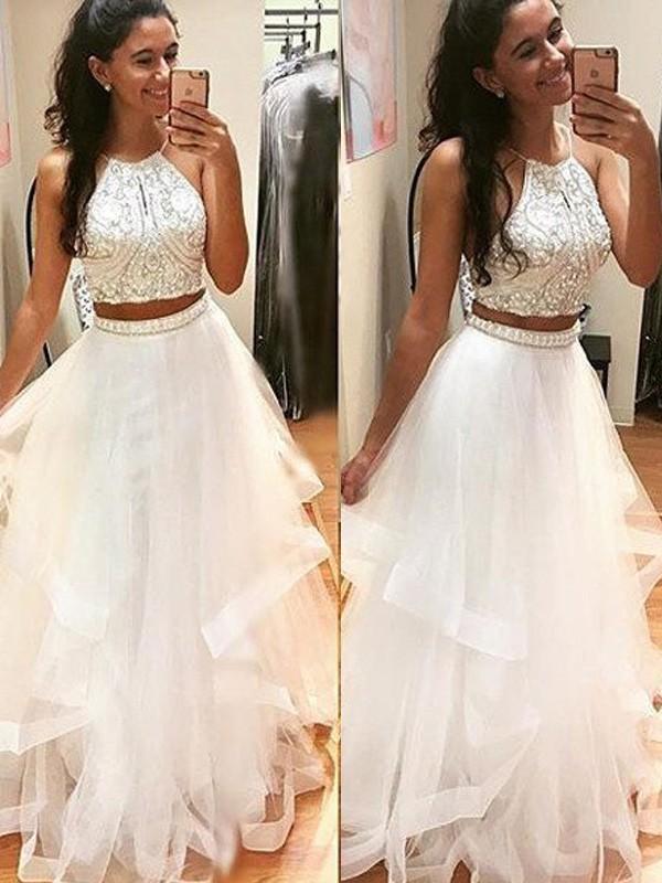 A-Line/Princess Halter Floor-Length Tulle Dress