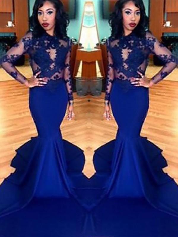Trumpet/Mermaid Scoop Lace Satin Long Sleeves Sweep/Brush Train Dress