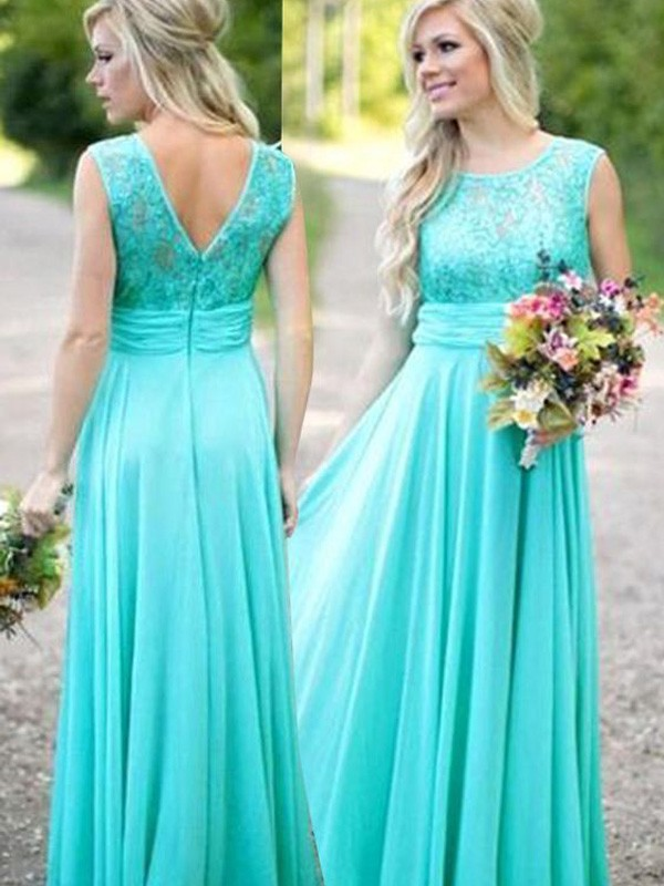 A-Line/Princess Scoop Floor-Length Lace Chiffon Bridesmaid Dress