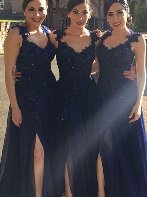 A-Line/Princess Sweetheart Floor-Length Lace Chiffon Bridesmaid Dress