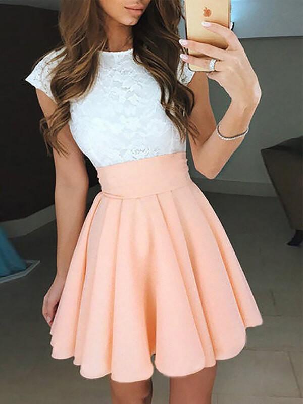 A-Line/Princess Jewel Short/Mini Chiffon Dress with Lace