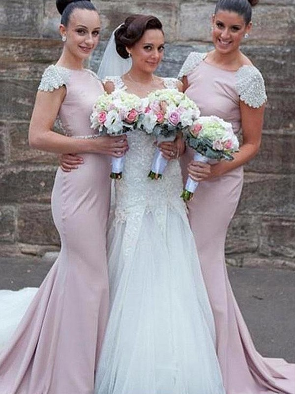 Trumpet/Mermaid Bateau Sweep/Brush Train Sleeveless Satin Bridesmaid Dresses