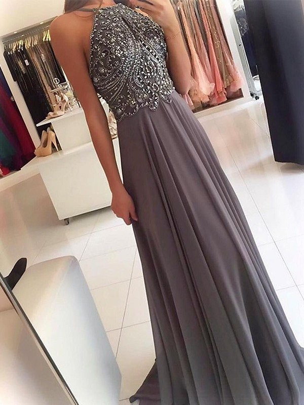 A-Line/Princess Halter Sweep/Brush Train Sleeveless Beading Chiffon Dresses