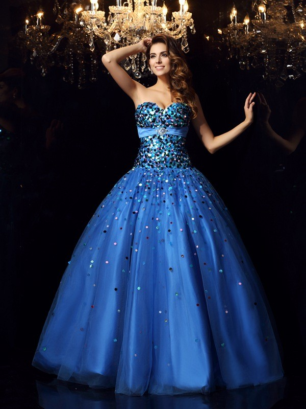 d450f1b12b0 Ball Gown Sweetheart Beading Long Satin Quinceanera Dress - DylanQueen