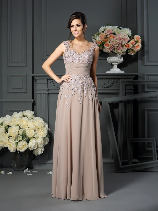 f6013073aa5 A-Line Princess Scoop Beading Sleeveless Long Silk like Satin Mother of the  Bride