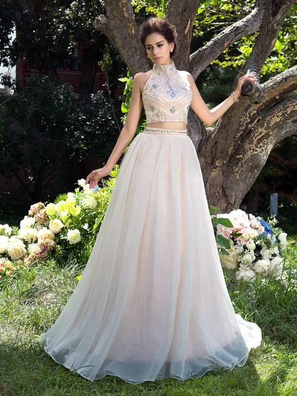 ca21d4d3e90 A-Line Princess High Neck Beading Long Net Two Piece Dress - DylanQueen