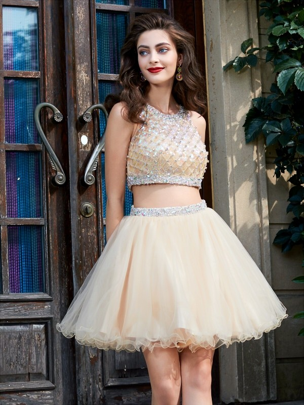 1070f315c7 A-Line Princess Scoop Net Short Mini Two Piece Homecoming Dress. Share on  facebook Share on Tumblr Tweet